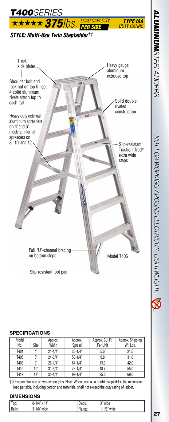 Werner T400 Series Multi-Use Twin Stepladder