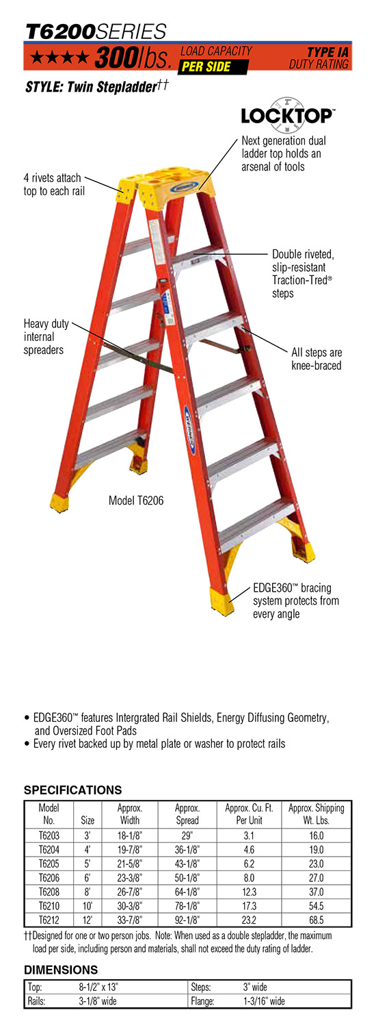 Werner T6200 Series Twin Stepladder