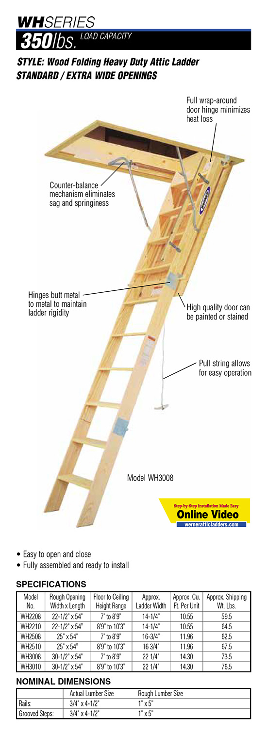 Werner WH Series Wood Folding Heavy Duty Attic Ladder