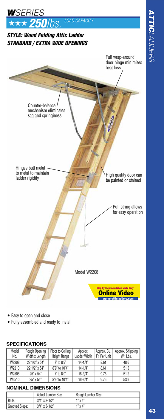 Werner W Series Wood Folding Attic Ladder
