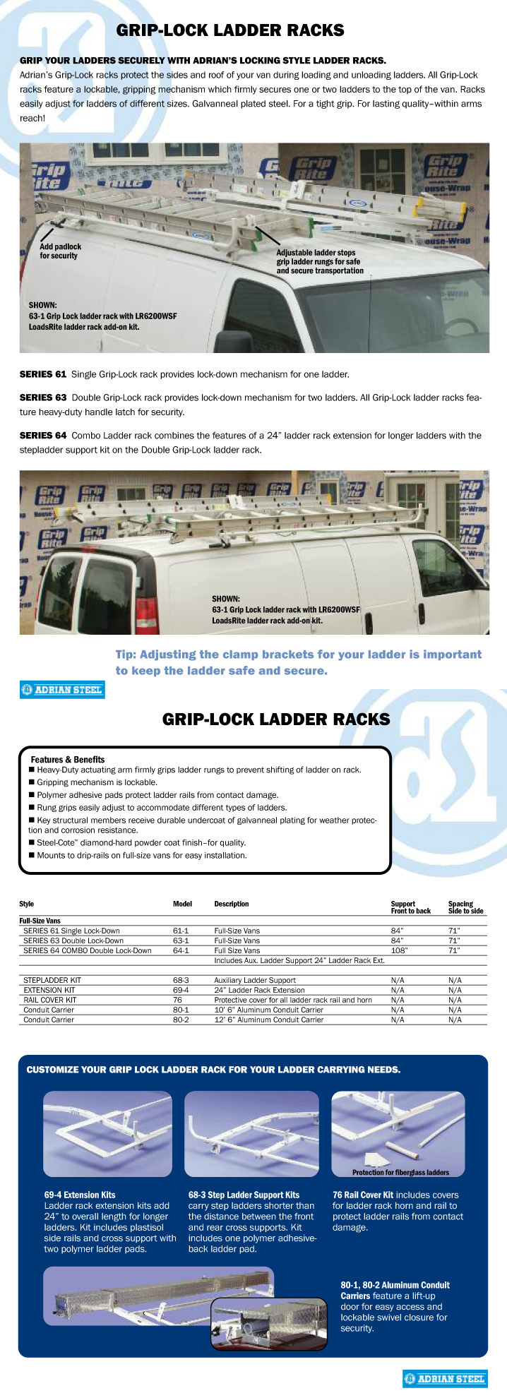 Adrian Steel Grip Lock Ladder Racks GM