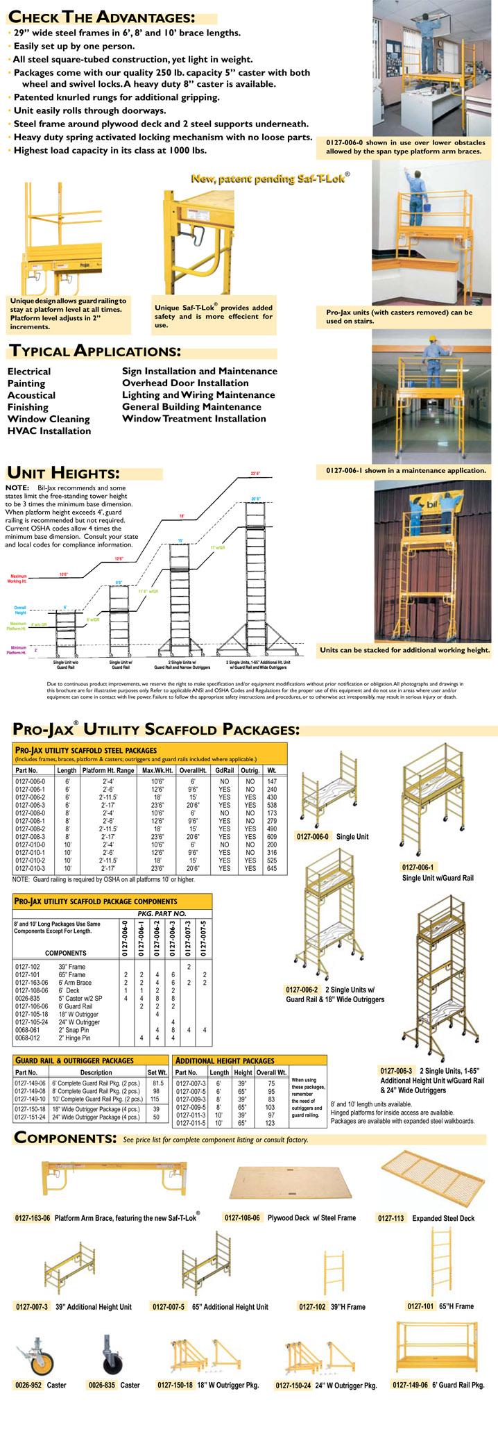 Bil Jax Scaffolding Parts : Bil jax scaffold component parts and accessories