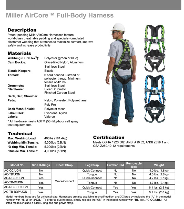 Miller AirCore Harness with DuraFlex Webbing and QC Buckles