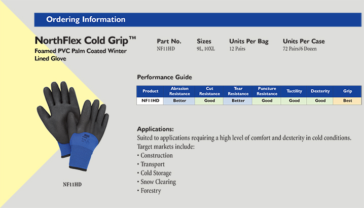 Northflex cold grip winter gloves details