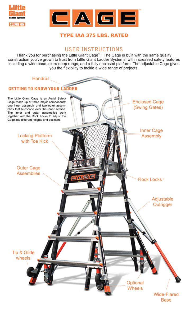 Little Giant Compact Cage Fiberglass Ladder