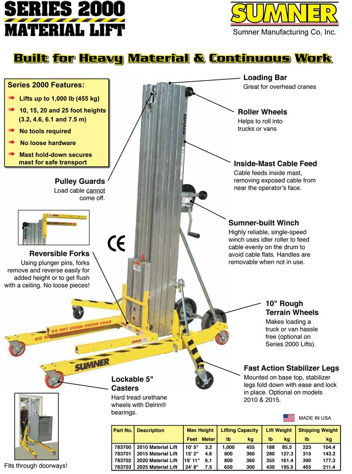 series 2000 material lifts -1