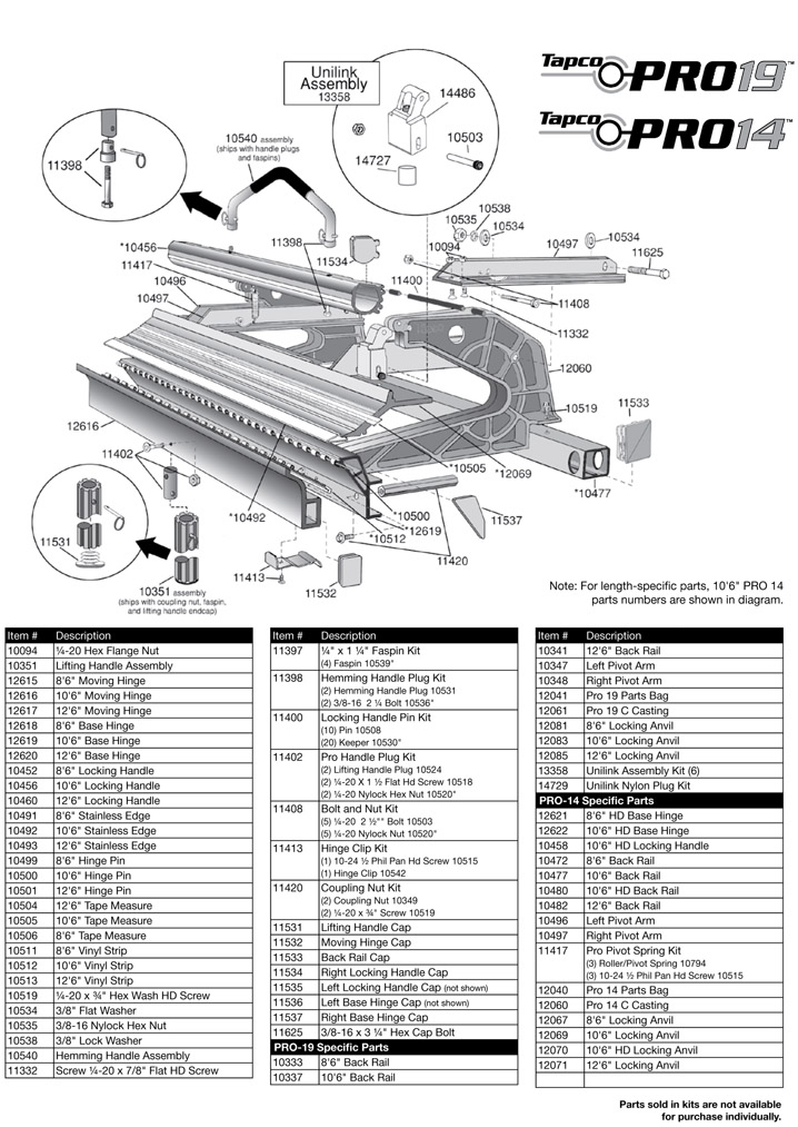 Tapco Siding Pro Brake Parts List