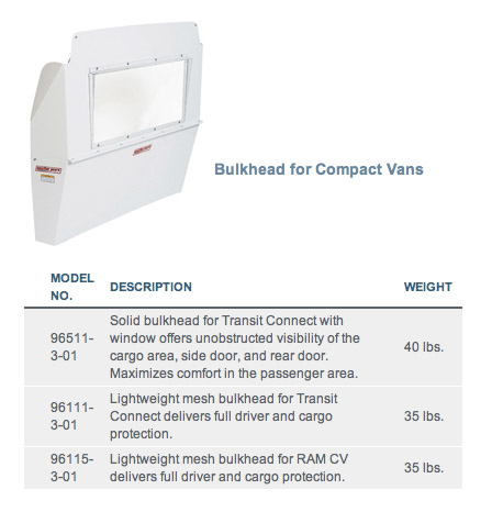 Weather Guard Bulkheads Compact Vans