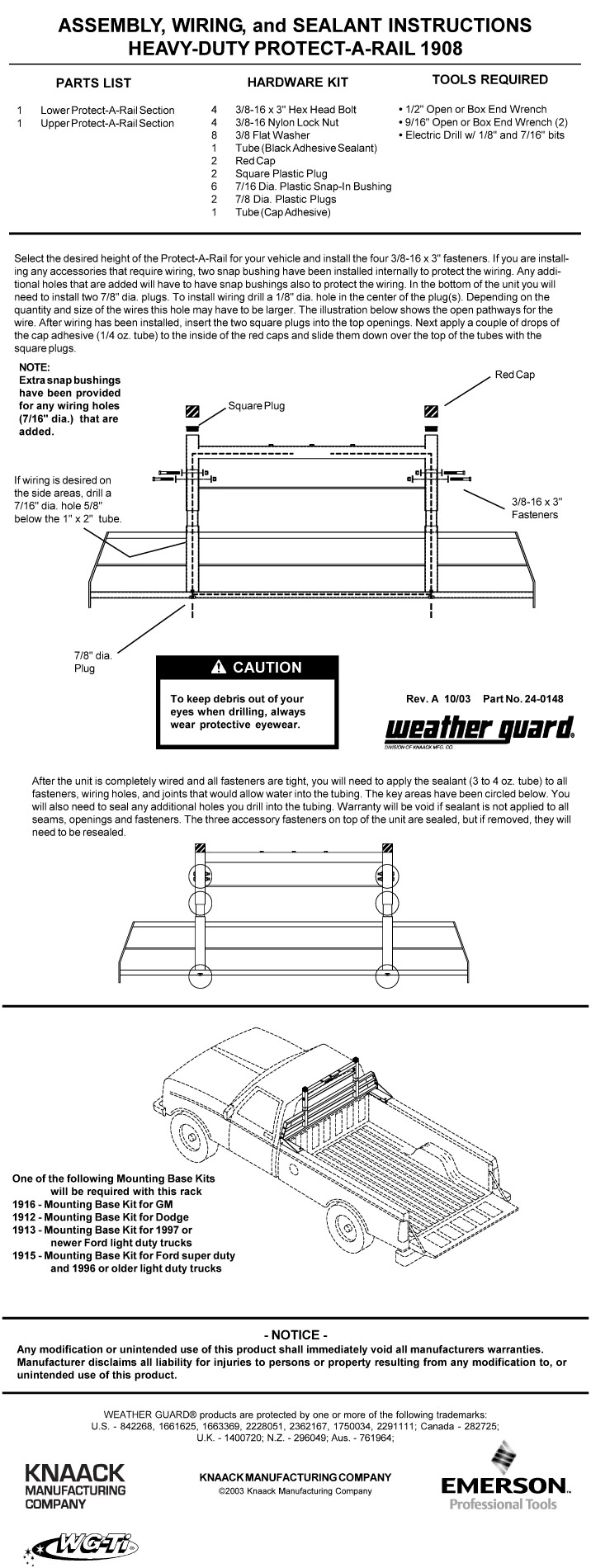 Weather Guard Cab Protector Installation Guide 1908