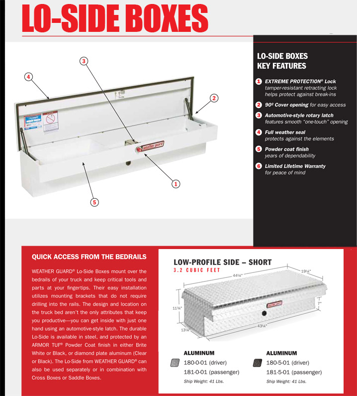 Weather Guard Lo-Side Box Aluminum 180 181